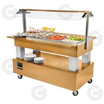 Buffet salad'bar 4 x GN1/1 BAIN MARIE RÉFRIGÉRÉ chêne clair