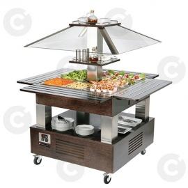 Buffet salad'bars bain-marie wengé