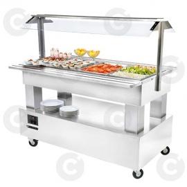 Buffet salad'bars réfrigéré 4 x GN 1/1 blanc