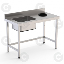 TABLE DU CHEF AVEC TROU VIDE DECHETS A DROITE 1 BAC LONG 1400 PROF 70