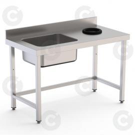 TABLE DU CHEF AVEC TROU VIDE DECHETS A DROITE 1 BAC LONG 1800 PROF 70