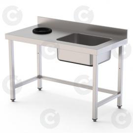 TABLE DU CHEF AVEC TROU VIDE DECHETS A GAUCHE 1 BAC LONG 1800 PROF 70